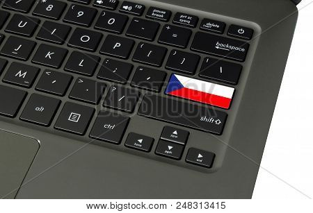 Flag Of Czech Republic On Laptop Keyboard, Close-up.