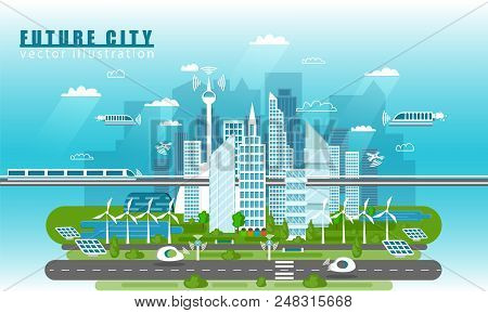 Smart City Landscape Of The Future Vector Concept Illustration In Flat Style. City Urban Skyline Wit