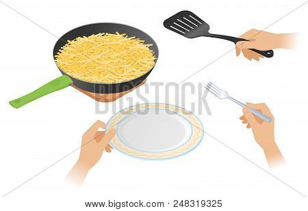 Flat Isometric Illustration Of Frying Pan With French Fried Crispy Potato, A Hands Are Holding Cooki