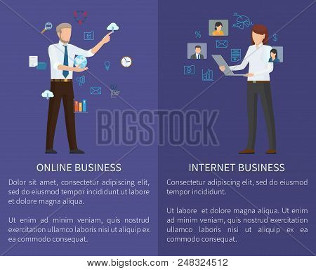 Internet And Online Business Set Of Posters With Text Sample And Headlines, Internet And Online Busi