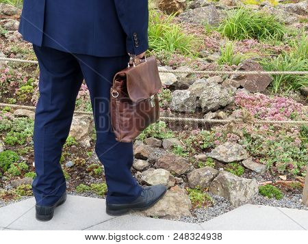 Man In A Official Suit With A Leather Briefcase Standing Near Flower Garden. Concept For Successful
