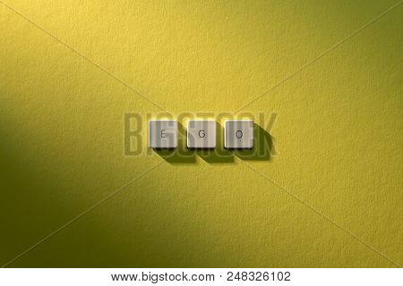 description of the word Ego on yellow background poster