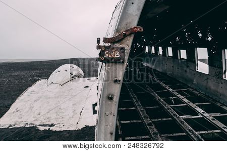 Close Up Of Plane Wreck In Iceland With No People Without People