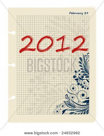Sheet Business Datebook February 29, 2012. Leap date. Vector illustration.
