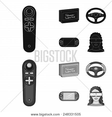 Game Console And Joystick Black, Monochrome Icons In Set Collection For Design.game Gadgets Vector S
