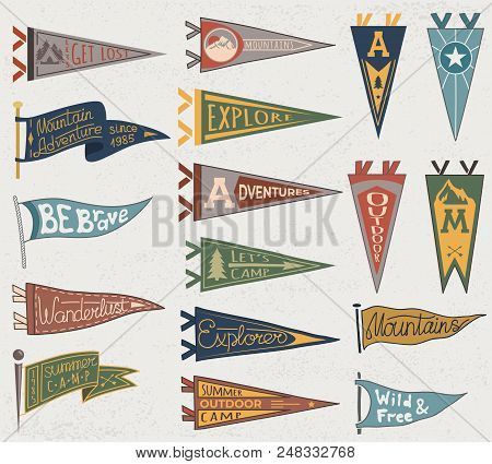 Set Of Adventure, Outdoors, Camping Colorful Pennants. Retro Labels On Textured Background. Hand Dra