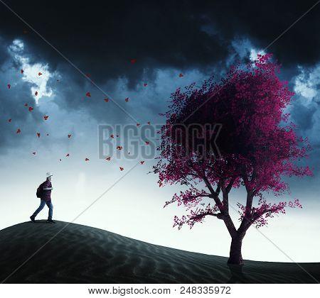 Traveler Running To A Red Tree In The Desert.