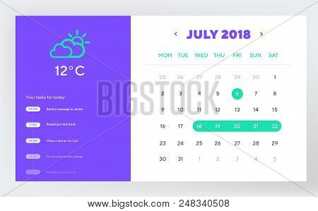 Calendar Day Planner And Calendar App Ui Ux Design. Ui, Ux And Gui Template Layout For Mobile Apps A