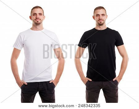Twice Man In Blank White And Black Tshirt From Front Side On White Background, T-shirt Design