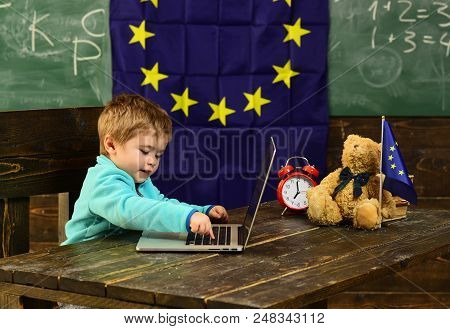 Ready For School. Little Boy Use Laptop, Ready For School. Child Ready For School In Classroom With
