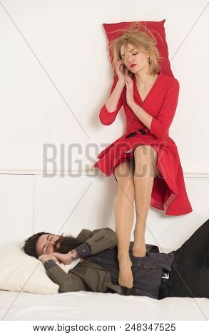 Relax. Business Couple Relax In Office. Relax Of Man And Woman Family Isolated On White, Copy Space.