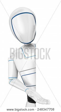 3d Futuristic Android Illustration. Humanoid Robot Pointing Aside. Isolated White Background.