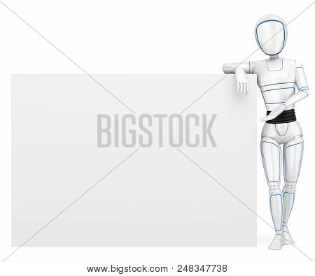 3d Futuristic Android Illustration. Humanoid Robot Leaning On A Blank Poster. Isolated White Backgro