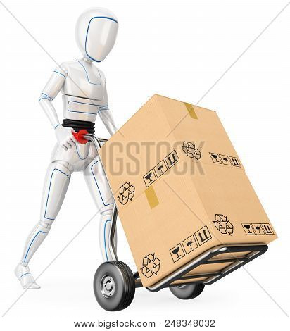3d Futuristic Android Illustration. Humanoid Robot Pushing A Cart With Cardboard Boxes. Isolated Whi