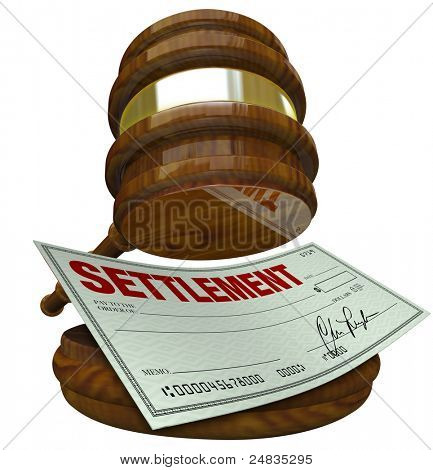 A gavel hovering over a check reading Settlement, illustrating an agreement overseen by the judicial and legal system binding two parties to a cash settlement