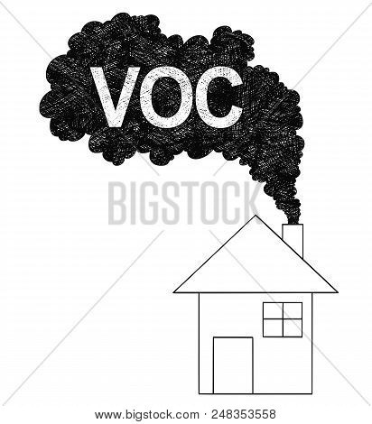 Vector Artistic Pen And Ink Drawing Illustration Of Smoke Coming From House Chimney Into Air. Enviro