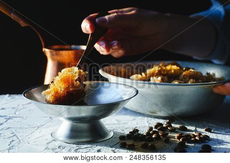 Bowl With A Cold Coffee Dessert, A Dish For Dessert And A Grain On The Table Close-up. Sicilian Gran