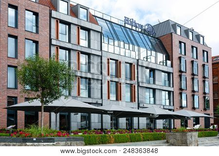 Gdansk, Poland - June 26, 2018: Exterior View Of Luxury 5-stars Hilton Hotel Located In The Old Town
