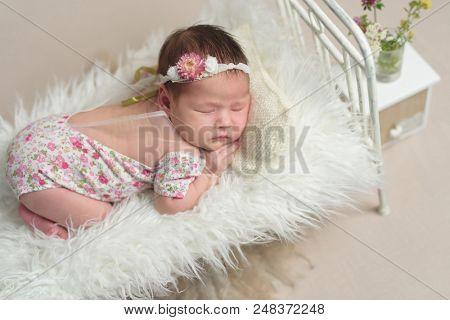 Cute sleeping newborn baby girl in the little bed