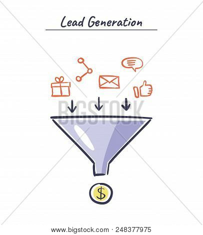 Lead Generation Vector Concept. Process Of Leads Production In Sales Funnel. Online Marketing Hand D