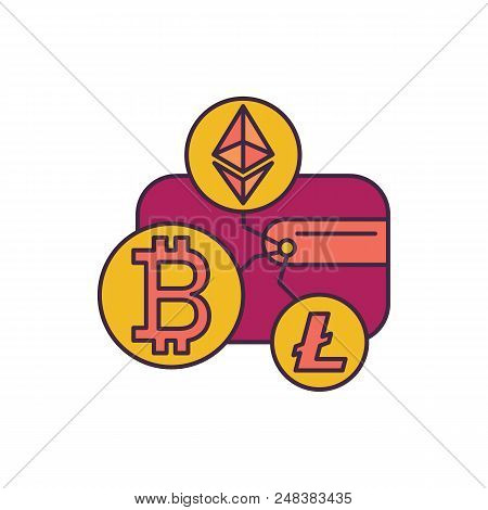 Crypto Wallet Icon. Cartoon Illustration Of Crypto Wallet Vector Icon For Web And Advertising