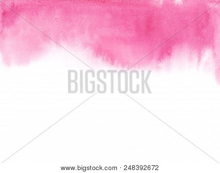 Abstract Pink Watercolor On White Background. The Color Splashing In The Paper. It Is A Hand Drawn.