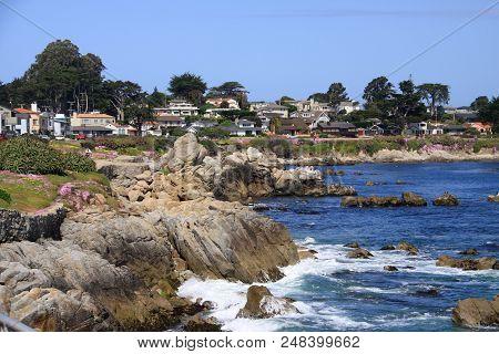 Homes On A Cliff Along The Beautiful California Coast.