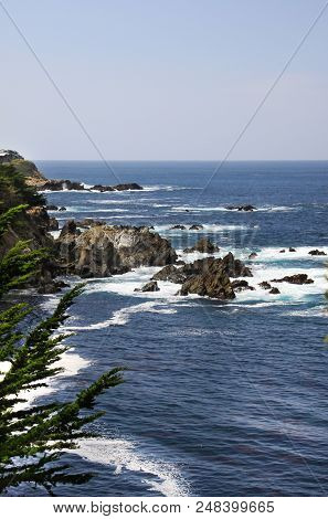 Rocks On A Cliff Along The Beautiful California Coast.