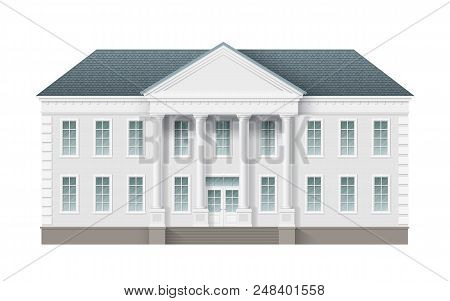 Front View Of Administrative Governmental Building. Traditional Classic Architecture Of Building Wit