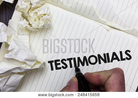 Conceptual Hand Writing Showing Testimonials. Business Photo Showcasing Customers Formal Endorsement
