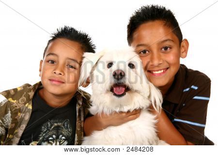 Happy Hispanic Children On White