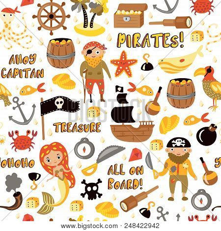 Pirates Vector Cartoon Seamless Pattern. Adventures And Pirate Party Background For Kindergarten. Ch