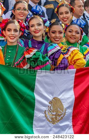 Romania,timisoara-july 5,2018:group Of Young Dancer From Mexico In Traditional Costume, Present At T
