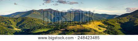 Beautiful Panorama Of Borzhava Mountain Ridge In The Evening. Wonderful Landscape In Early Autumn. V