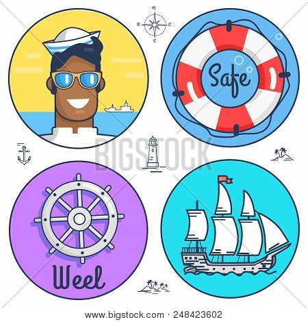 Poster Dedicated To Set Of Marine Circle Icons. Vector Illustration Of Sailor, Lifesaver, Wheel And