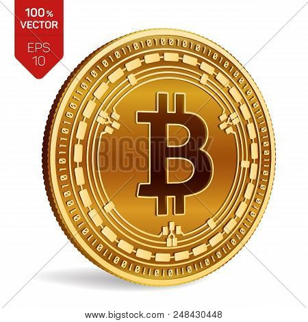 Bitcoin Cash. 3d Isometric Physical Bit Coin. Digital Currency. Cryptocurrency. Golden Coin With Bit