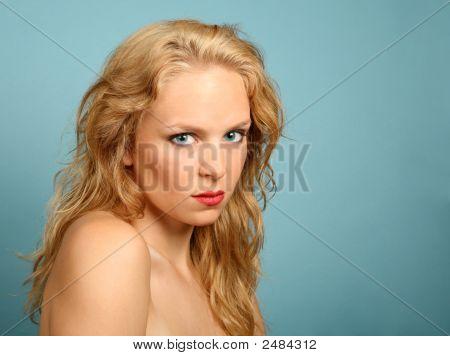 Striking Blue Eyes Of A Blonde Female