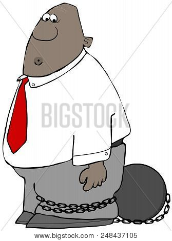 Illustration Of A Worried Black Businessman With A Ball & Chain Wrapped Around His Leg.