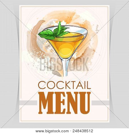 Vector Flyer, Cover Menu With A Stinger Cocktail Image