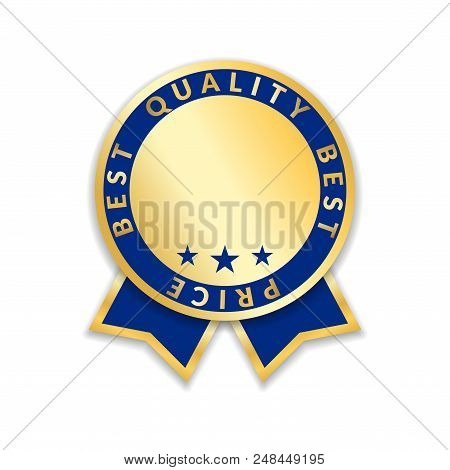 Ribbon Award Best Price Label. Gold Ribbon Award Icon Isolated White Background. Best Quality Golden
