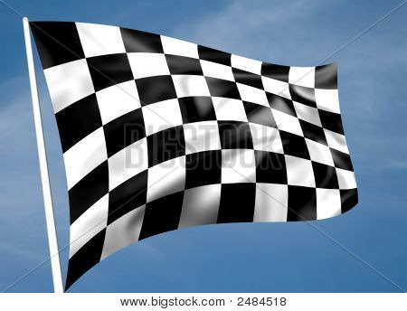 Rippled Black And White Chequered Flag