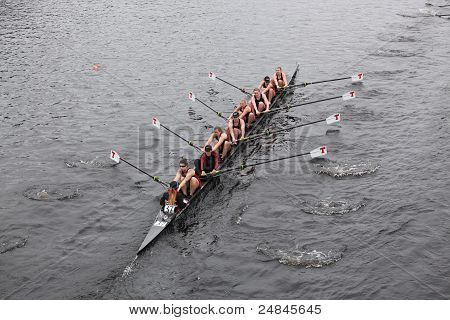 MIT women's Eights races in the Head of Charles Regatta