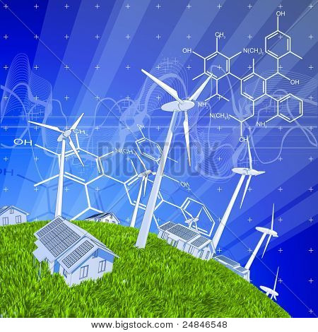 wind-driven generators, houses with solar power systems, blue sky, green grass & chemical formulas. Bitmap copy my vector ID 44217643