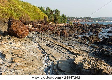 Rocky Coast Of Arabian Sea In Goa