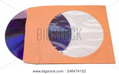 Paper Sleeve With Flap For Single Cd Dvd. Transparent Window To See What's Inside. Orange Tone Envel