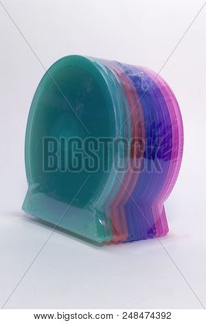 Pack Of Single Cases For Cd Storing. Color Shells - High Quality Clear Plastic Boxes; With Clipping