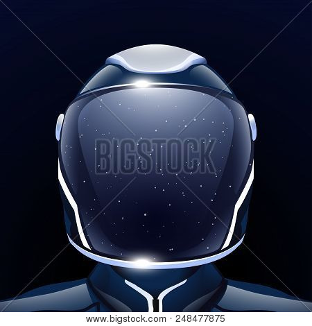 Illustration Of Futuristic Space Man With Reflected Stars On Helmet On Dark Background