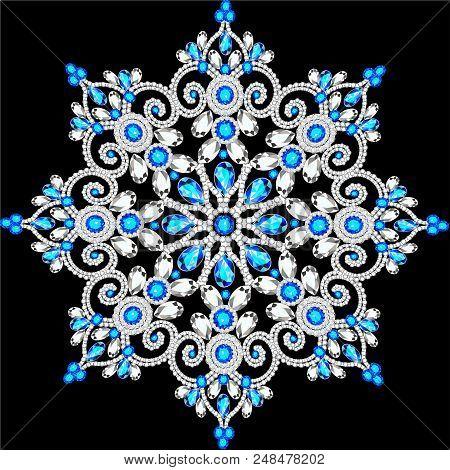 Christmas Snowflake Crystal Precious. Beautiful Jewelry, Medallion, Brooch, Decoration On Neck, Mand