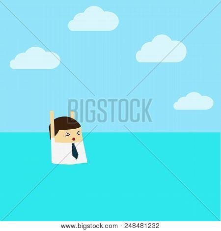 Businessman With Life Preserver. Flat Design. Cartoon Character.