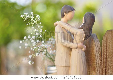 Figurine Of Married Couple Hugging, Handmade For Wedding